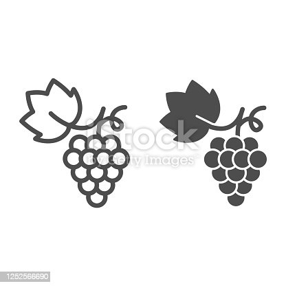 istock Bunch of grapes line and solid icon, summer concept, grapes sign on white background, Bunch of wine grapes with leaf icon in outline style for mobile concept and web design. Vector graphics. 1252566690