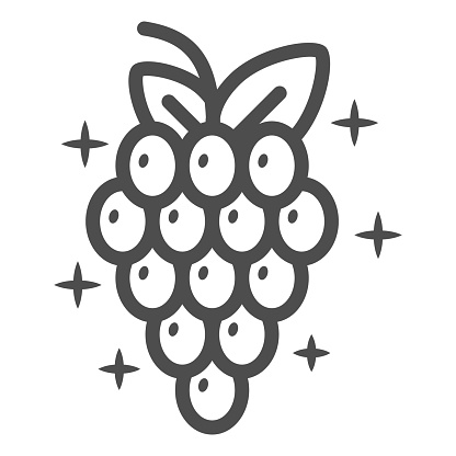 Bunch of grapes line icon, Wine festival concept, Wine Grape sign on white background, Grape with leaves icon in outline style for mobile concept and web design. Vector graphics.