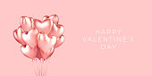 A bunch of heart shaped helium balloons realistic on a horizontal banner with space for text isolated on a pink background, vector 3d. Postcard, greeting, poster, happy valentines day, love symbol