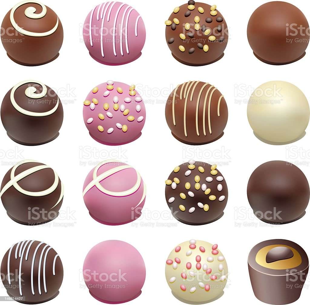 A bunch of illustrated chocolates in rows vector art illustration