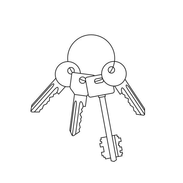 Line Art Photo Cs : Trousseau clés vecteurs et illustrations libres de droits
