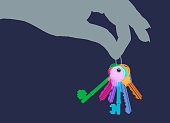 Colourful overlapping silhouettes of house keys