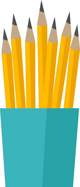 Bunch of pencils in a cup vector illustration