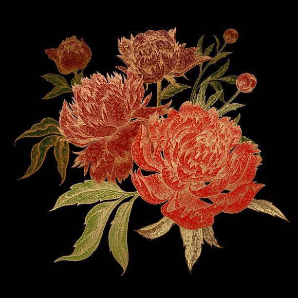 blumenstrauß rote pfingstrose mit gold schlaganfall. - gartenfolie stock-grafiken, -clipart, -cartoons und -symbole