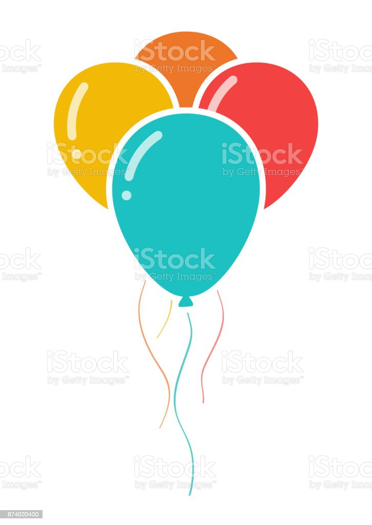 Bunch of three colorful celebration balloons icon vector art illustration