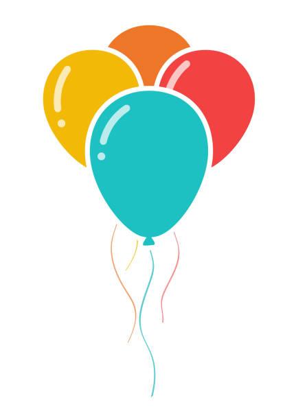 ilustrações, clipart, desenhos animados e ícones de bando de três ícone de balões de festa colorido - balão decoração