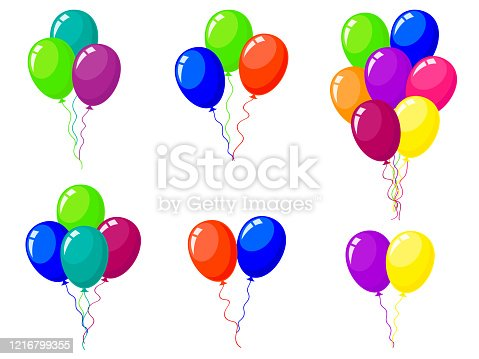 istock Bunches and groups of colorful helium balloons isolated on white background. 1216799355