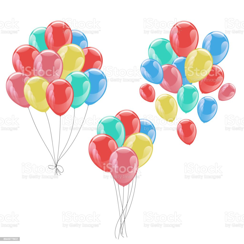 Bunches Of Colorful Helium Balloons Isolated On White Background ...