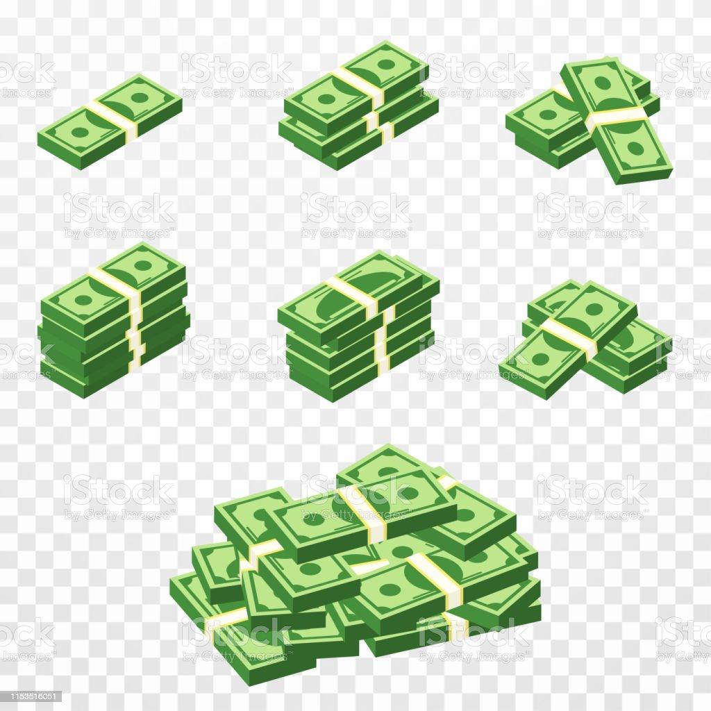 Geldbündchen im Cartoon 3d-Stil. Set von verschiedenen Packs von Dollar-Rechnungen. Isometrisch grüne Dollar, Gewinn, Investitions-und Sparkonzept - Lizenzfrei Amerikanische Währung Vektorgrafik