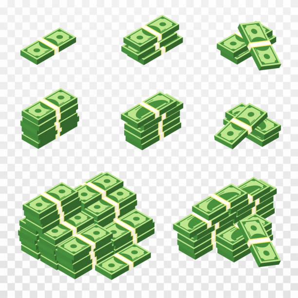 Bunches of money in cartoon 3d style. Set of different packs of dollar bills. Isometric green dollars, profit, investment and savings concept vector art illustration