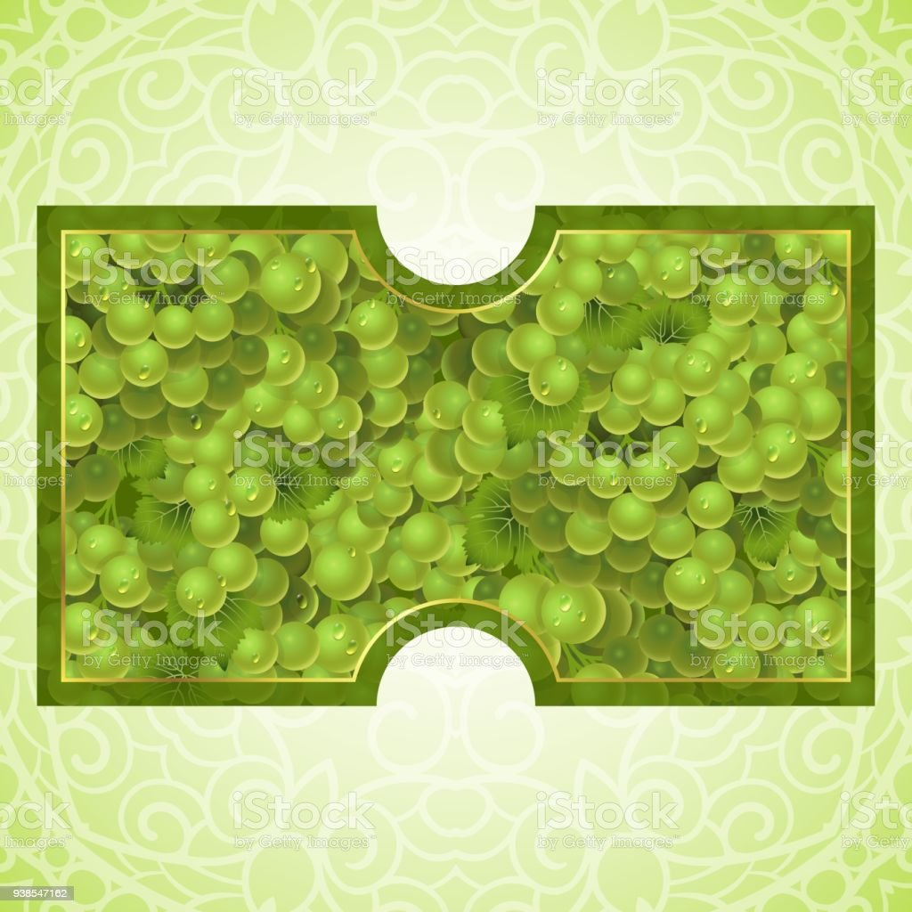 Bunches of the green grapes with dew drops vector art illustration