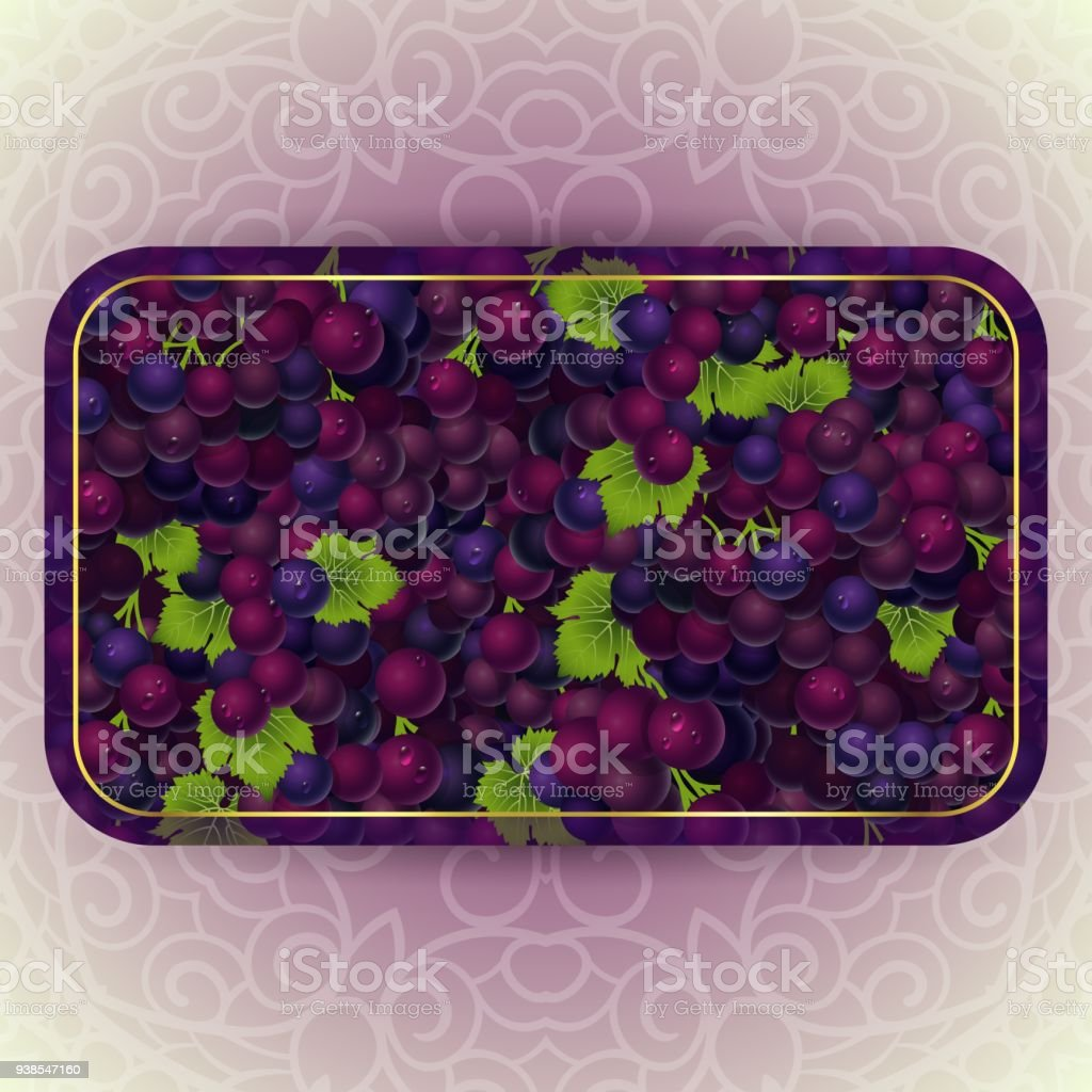 Bunches of the red grapes with dew drops vector art illustration