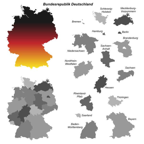 bildbanksillustrationer, clip art samt tecknat material och ikoner med bundeslaender - germany map leipzig