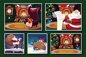 bundle christmas cards with santa claus vector illustration design