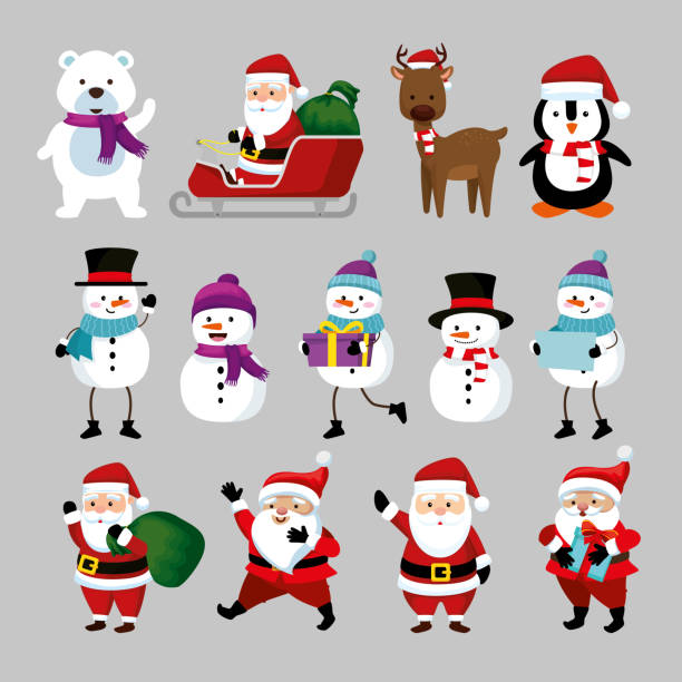 bundle christmas with santa claus and set characters vector art illustration