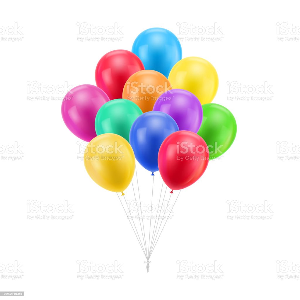 Bundle colored balloons isolated vector art illustration