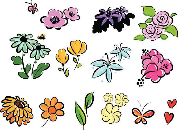 bundle flowers set vector art illustration