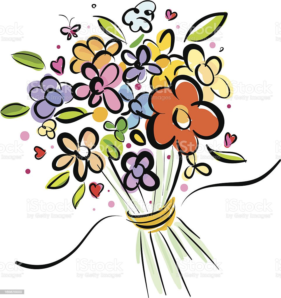 bundle flowers vector art illustration