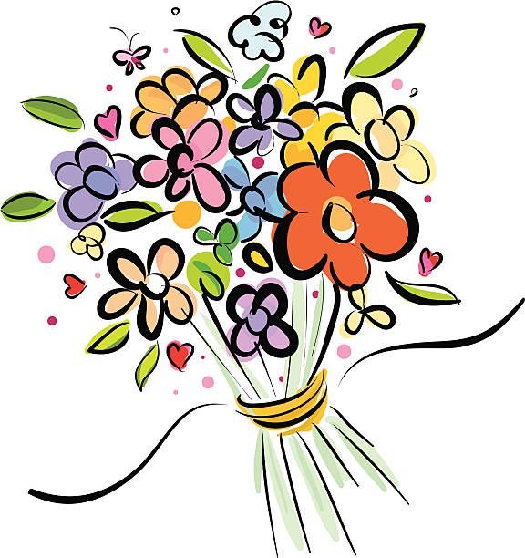 bundle flowers Free hand style bundle flowers for design icon bunch stock illustrations