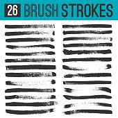Collection of twenty six unique abstract artistic grunge sloppy dry brush strokes. Vector messy, paint brush lines. Graphic design elements for various purpose.