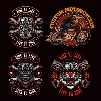 A bundle of biker-themed vector illustrations