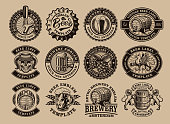 A bundle of black and white vintage beer emblems, these design can be used as a logo template for a brewery or for a bar as well as for many other uses.