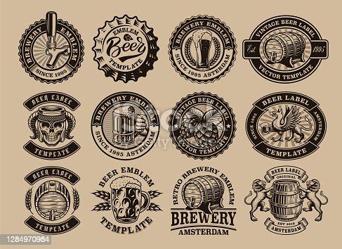 istock A bundle of black and white vintage beer emblems 1284970984