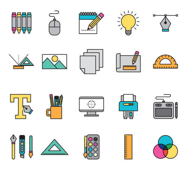 bundle of creative ideas set icons vector art illustration