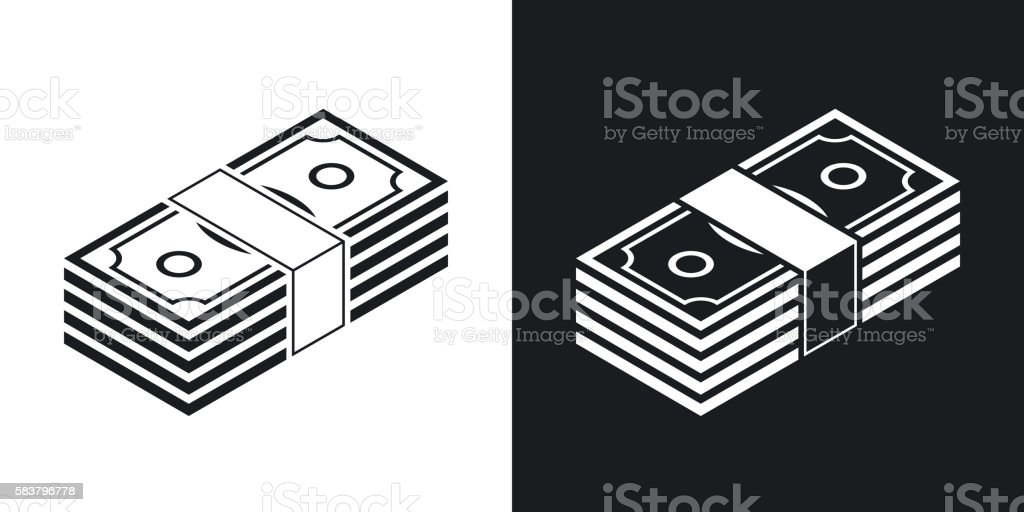 Bundle of dollars, vector icon. Two-tone version vector art illustration