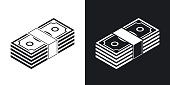 Bundle of dollars, vector icon. Two-tone version
