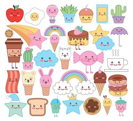 bundle of emojis animals and food kawaii characters