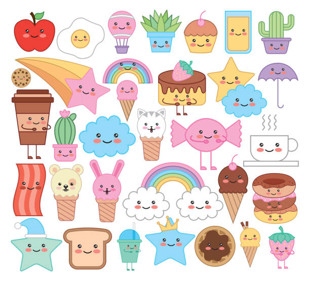 bundle of emojis animals and food kawaii characters vector art illustration