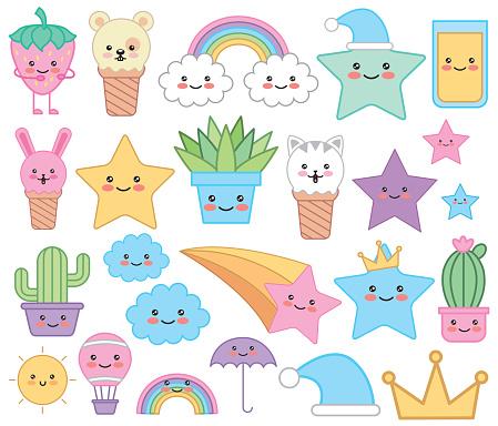 bundle of emojis fairytale kawaii characters