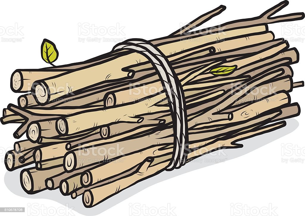 bundle of firewood vector art illustration