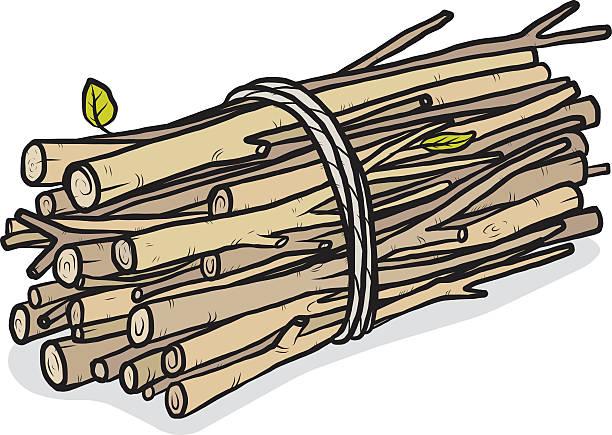 bundle of firewood bundle of firewood / cartoon vector and illustration, hand drawn style, isolated on white background. bundle stock illustrations