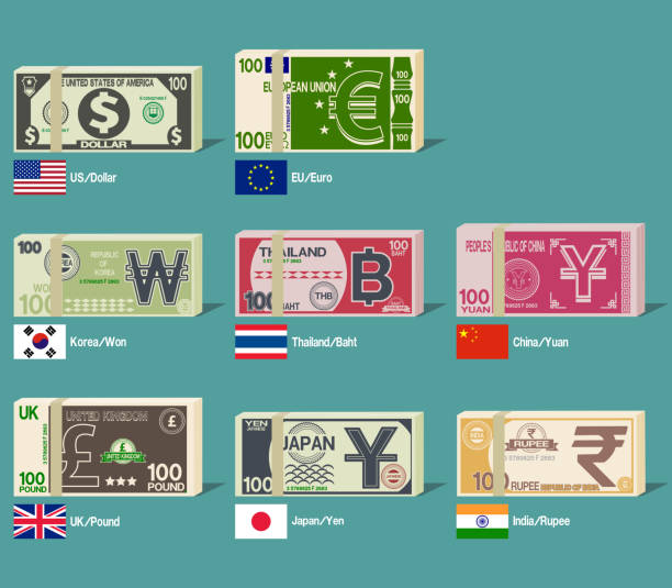 stockillustraties, clipart, cartoons en iconen met bundel van buitenlands bankbiljet - thaise munt