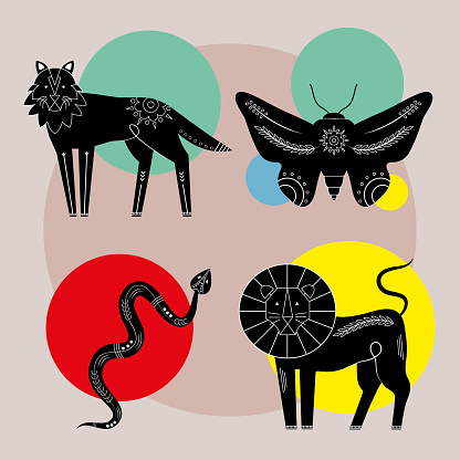 bundle of four animals contemporary nature icons
