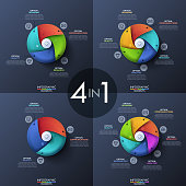 Bundle of four infographic design templates, circular diagrams with 3, 4, 5 and 6 spiral elements, start button in center, icons and text boxes. Features of technology concept. Vector illustration.