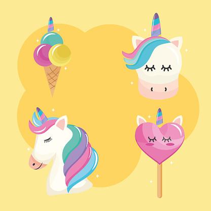 bundle of four unicorn set icons