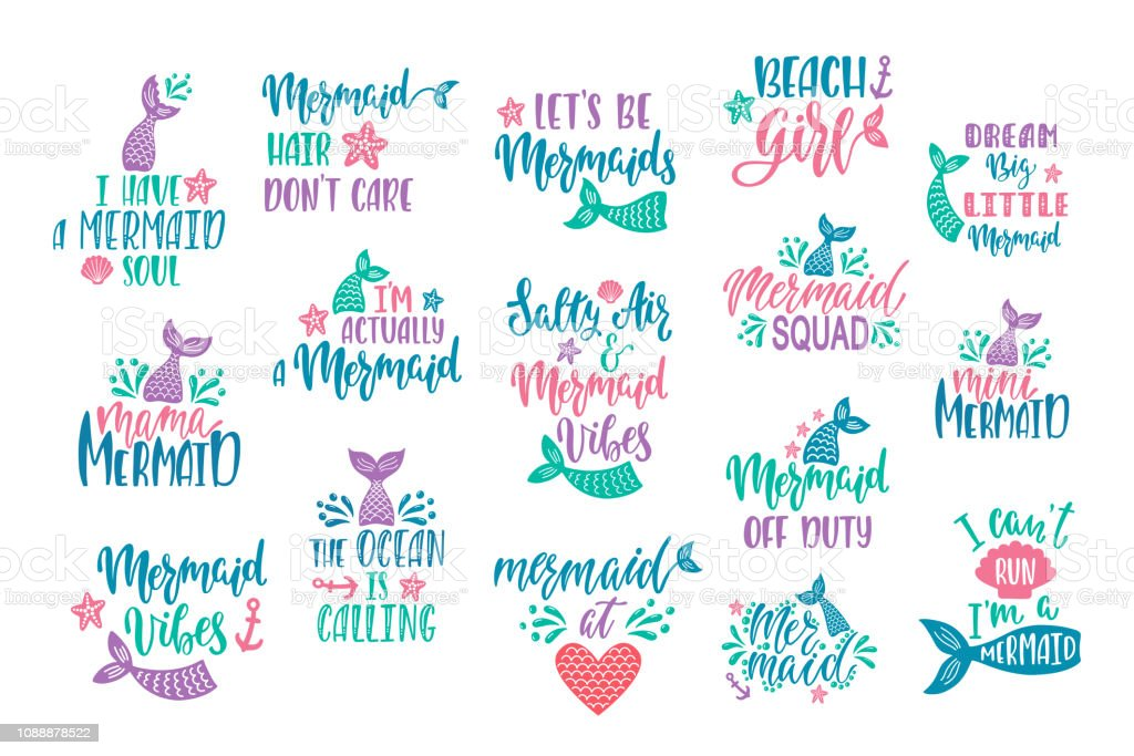 bundle of mermaids cards handwritten inspirational quotes about