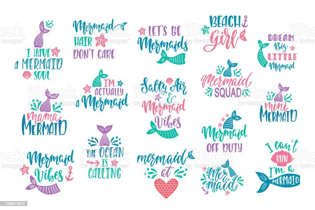 Bundle Of Mermaids Cards Handwritten Inspirational Quotes ...