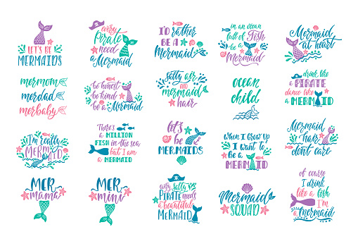Bundle of mermaid's cards. Handwritten inspirational quotes about summer. Typography lettering design