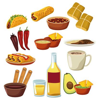 bundle of mexican food menu set icons