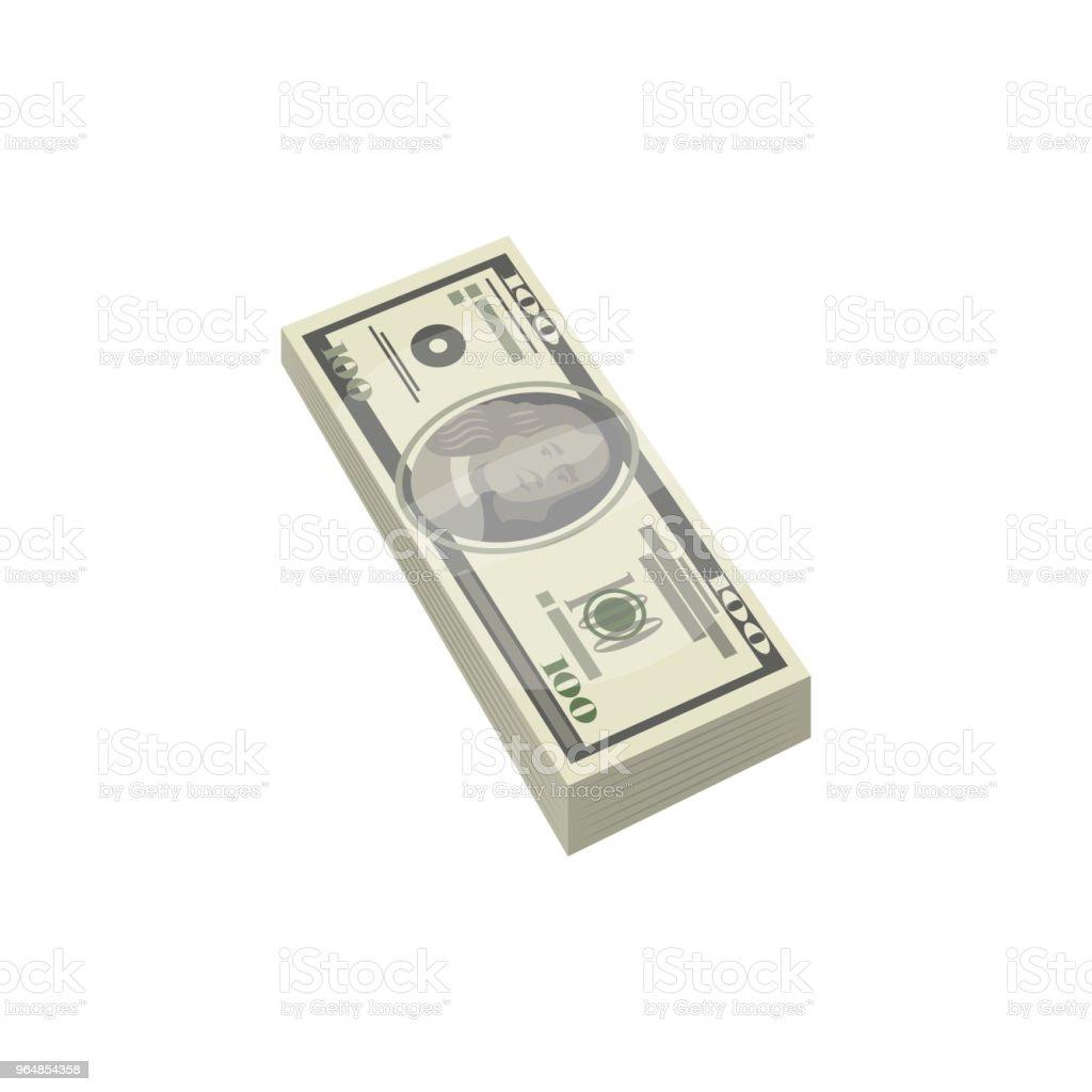 Pacote de ícone isométrica isolada de dinheiro - Vetor de Abundância royalty-free