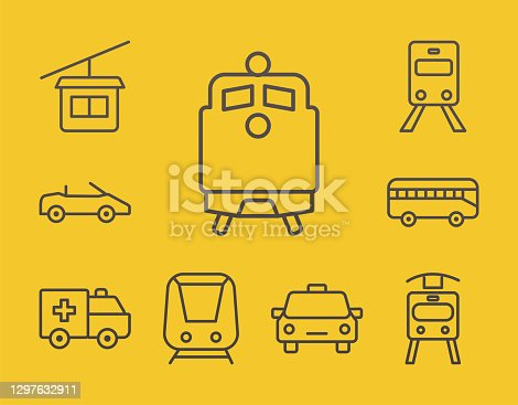 bundle of nine conveyance transport line style set icons in yellow background vector illustration design