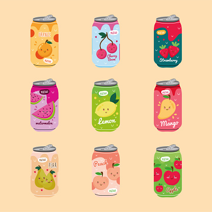 bundle of nine juices fruits cans with kawaii characters