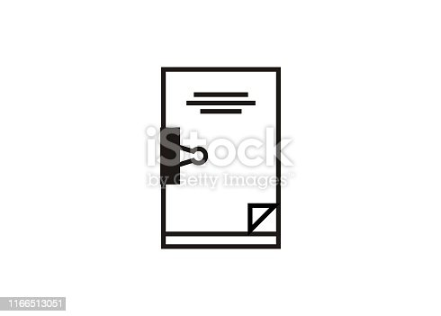 Simple icon of a paper draft in black and white