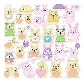 bundle of rabbits and hamster kawaii characters