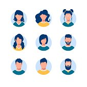 Bundle of round people avatars. Collection of portraits of men and women with different hairstyles in circular frames isolated on white background. Modern vector illustration in flat cartoon style.