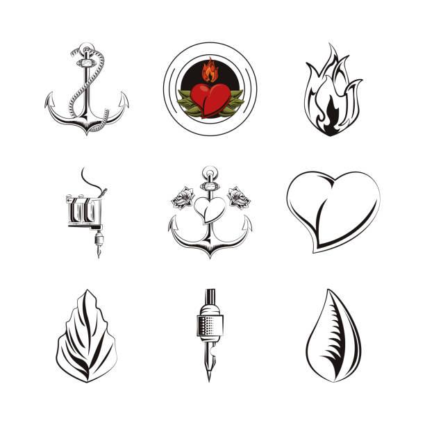 bundle of tatoos images icons bundle of tatoos images icons vector illustration design nautical tattoos stock illustrations